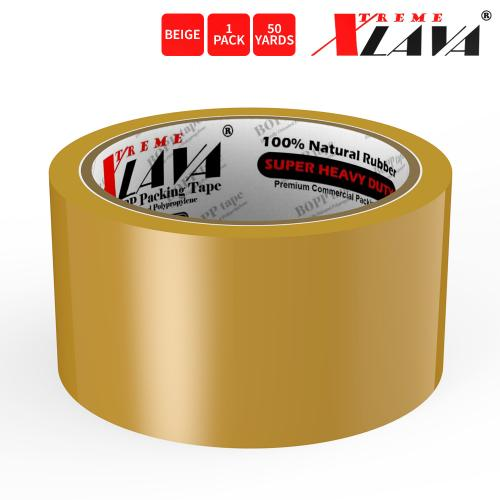 Natural Rubber Tape, 1 Roll of Commercial Grade [XLava Tape - BEIGE] Value Bundle for Cold Storage Packaging Industry [2.0 Inches x 50 Yards]