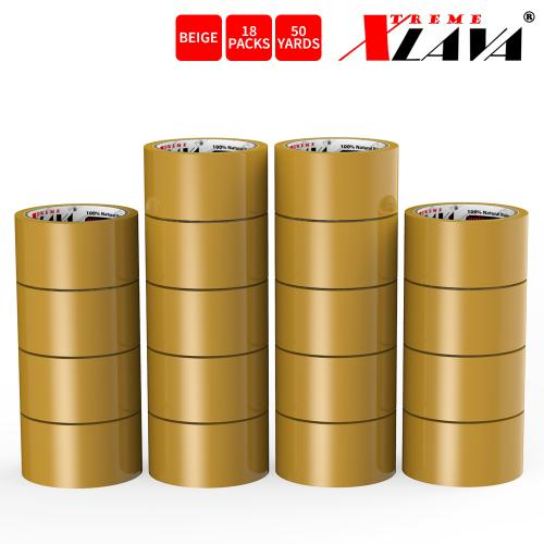 Natural Rubber Tape, 18 Rolls of Commercial Grade [XLava Tape - BEIGE] Value Bundle for Cold Storage Packaging Industry [2.0 Inches x 50 Yards]