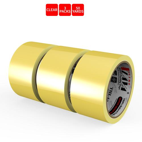 Natural Rubber Tape, 3 Rolls of Commercial Grade [XLava Tape - GOLD CLEAR] Value Bundle for Cold Storage Packaging Industry [2.0 Inches x 50 Yards]