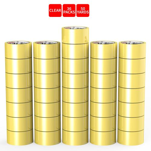 Natural Rubber Tape, 36 Rolls of Commercial Grade [XLava Tape - GOLD CLEAR] Value Bundle for Cold Storage Packaging Industry [2.0 Inches x 50 Yards]