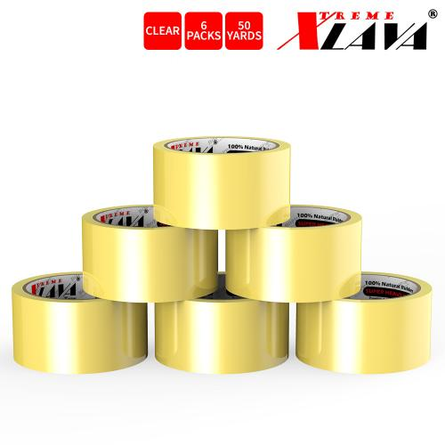 Natural Rubber Tape, 6 Rolls of Commercial Grade [XLava Tape - GOLD CLEAR] Value Bundle for Cold Storage Packaging Industry [2.0 Inches x 50 Yards]