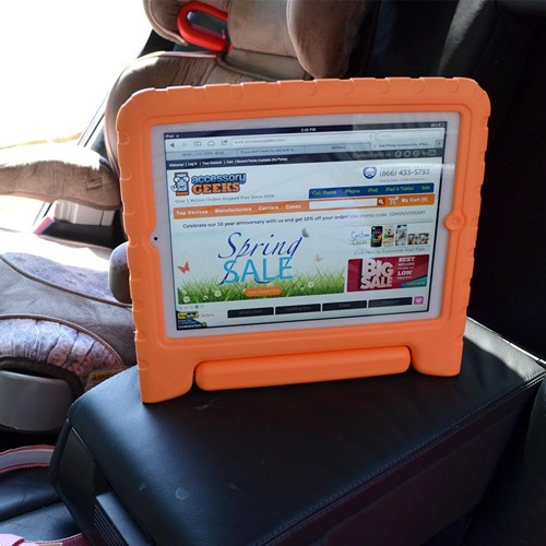 Orange Ziotek Impact-Resistant Foam Bump Case w/ Handle for iPad 2/3/4
