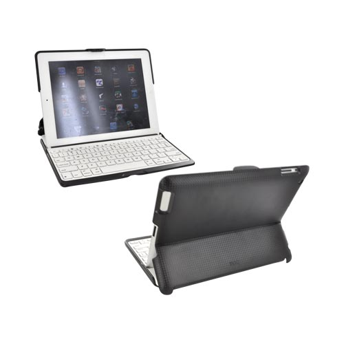 Original ZAGG Apple iPad 2 ZAGGfolio Wireless Bluetooth Keyboard/ Stand/ Case - Black Carbon Fiber w/ White Keyboard