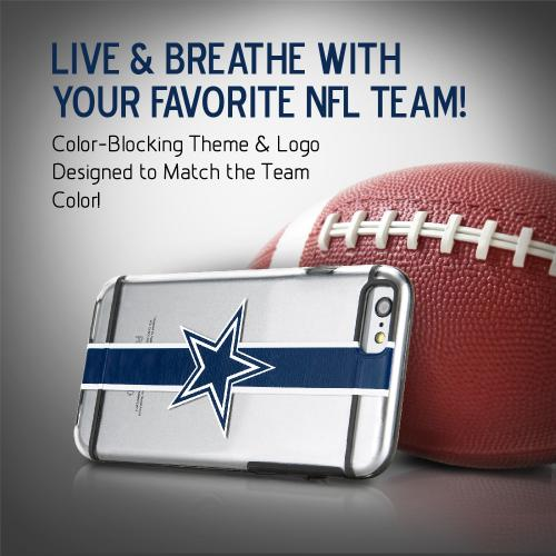 [Apple iPhone 6/6S] (4.7 inch) Sports Case, [Dallas Cowboys] Hydroclear Ultra-Slim 3D UV Printed Textued Hard Back Case w/ TPU Border