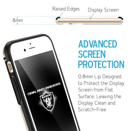 Apple iPhone 6/6S (4.7 inch) Sports Case, [Oakland Raiders] Hydroclear Ultra-Slim 3D UV Printed Textued Hard Back Case w/ TPU Border