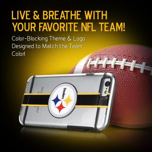 [Apple iPhone 6/6S] (4.7 inch) Sports Case, [Pittsburgh Steelers] Hydroclear Ultra-Slim 3D UV Printed Textued Hard Back Case w/ TPU Border