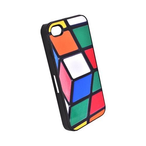 Original Zero Gravity AT&T/ Verizon Apple iPhone 4, iPhone 4S Hard Case - White/ Black/ Green Cube Puzzle