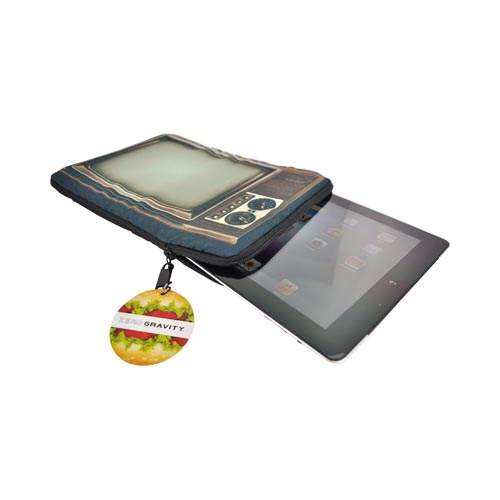 Original Zero Gravity Apple iPad (All Gen.) Nylon Sleeve Case - Brown/ Forest Green Retro TV