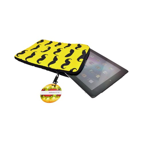 Original Zero Gravity Apple iPad (All Gen.) Nylon Sleeve Case - Black/ Yellow Assorted Mustaches
